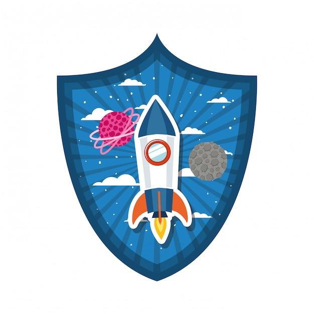 Rahmen mit raketenflug und planeten des sonnensystems Premium Vektoren