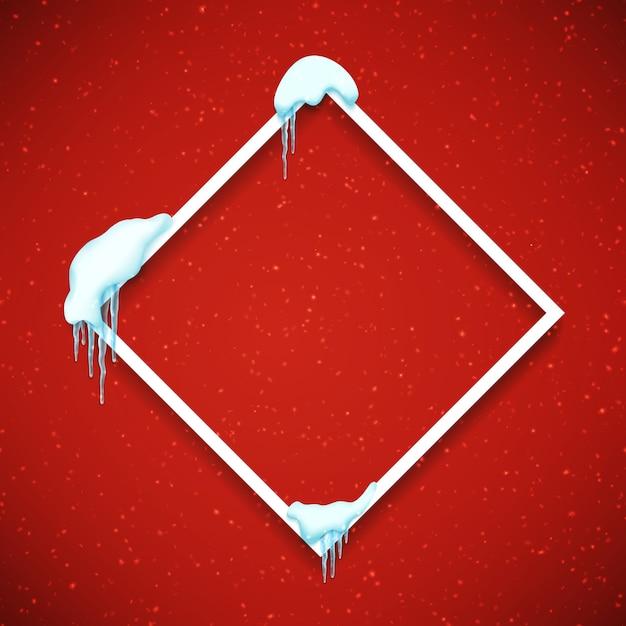 Rahmen mit realistischen schnee und eiszapfen. Premium Vektoren