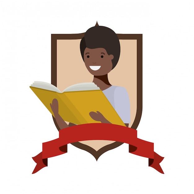 Rahmen mit studentenjungen und lesebuch Kostenlosen Vektoren