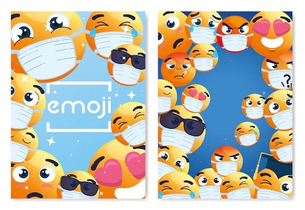 Rahmen von emoji, die medizinische maske tragen, gelbe gesichter mit weißer chirurgischer maske, symbole für coronavirus-ausbruch Premium Vektoren
