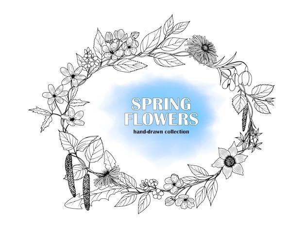 Rahmen von hand gezeichneten frühlingsblumen. Premium Vektoren
