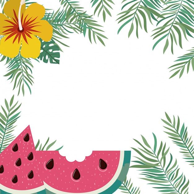 Rahmen von köstlichen tropischen früchten Kostenlosen Vektoren