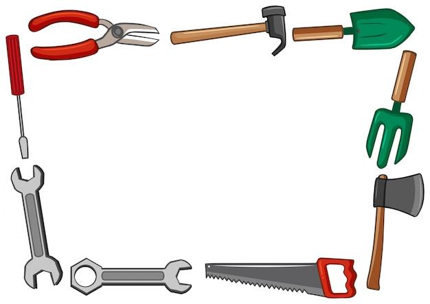 Rahmendesign mit vielen werkzeugen Kostenlosen Vektoren