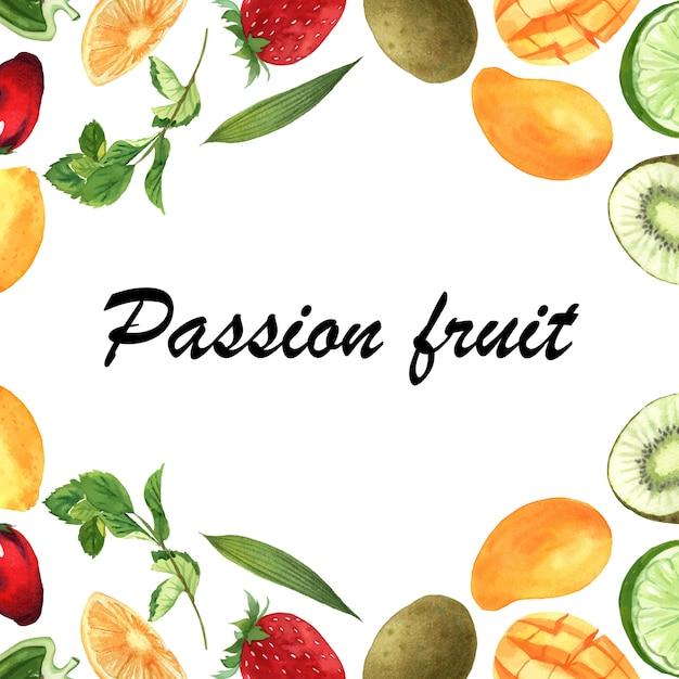 Rahmenfahne der tropischen frucht mit text, passionfruit mit kiwi, ananas, fruchtiges muster Kostenlosen Vektoren