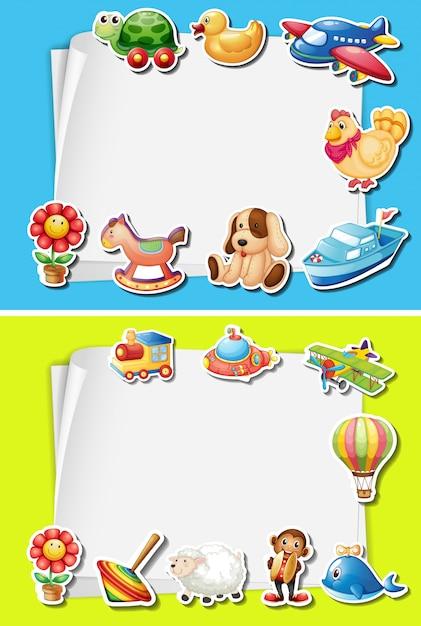 Rahmengestaltung mit Spielzeug am Rand   Download der Premium Vektor