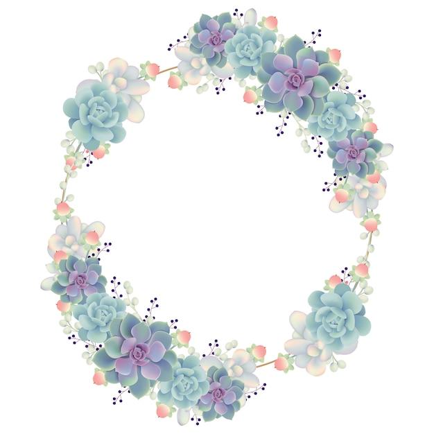Rahmenhintergrund floral mit sukkulenten Premium Vektoren