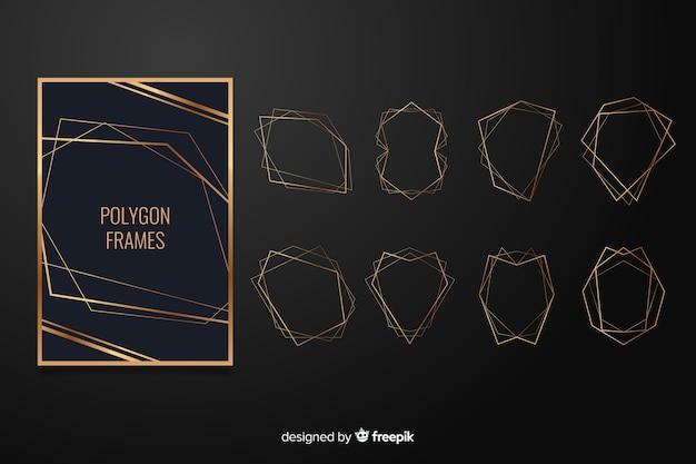 Rahmensammlung der goldenen polygonalen hochzeit Kostenlosen Vektoren