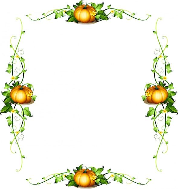 Rahmenschablone mit kürbispflanzen Kostenlosen Vektoren