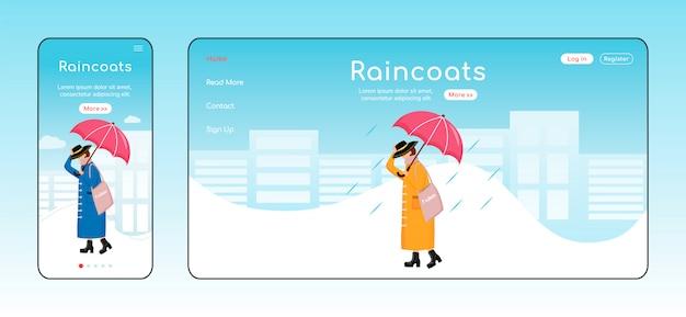 Raincoats landing page farbvorlage. mobiles display. rainywear homepage layout. modische frau eine seite website-schnittstelle, zeichentrickfigur. regentag web-banner, webseite Premium Vektoren