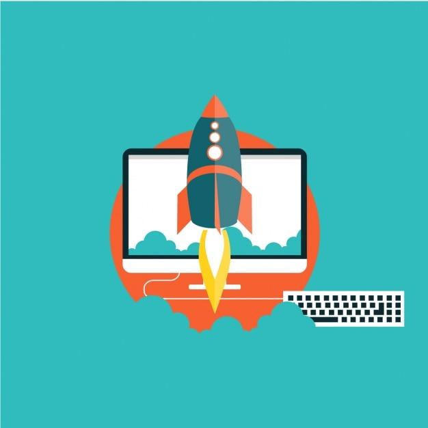 Rakete mit einem computer im hintergrund Kostenlosen Vektoren