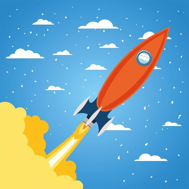 Rakete über wolken und zeigte Kostenlosen Vektoren