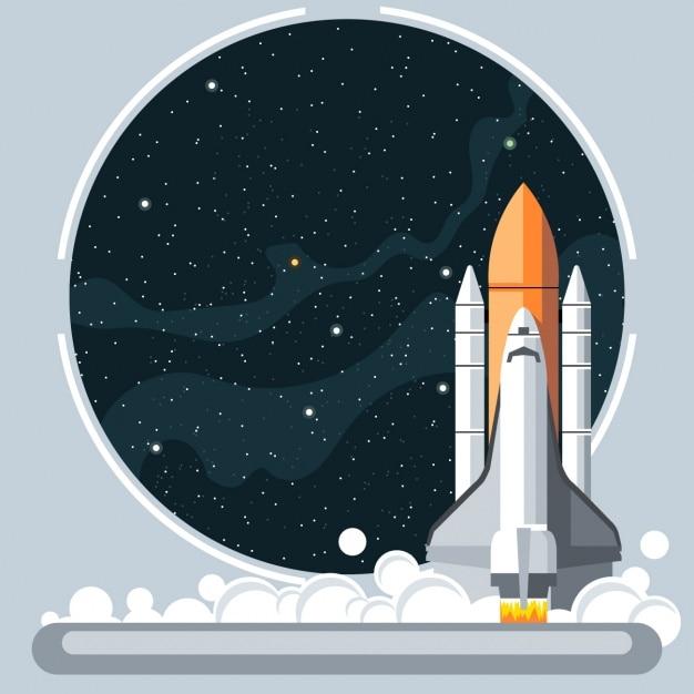 Rakete und raumfenster Kostenlosen Vektoren