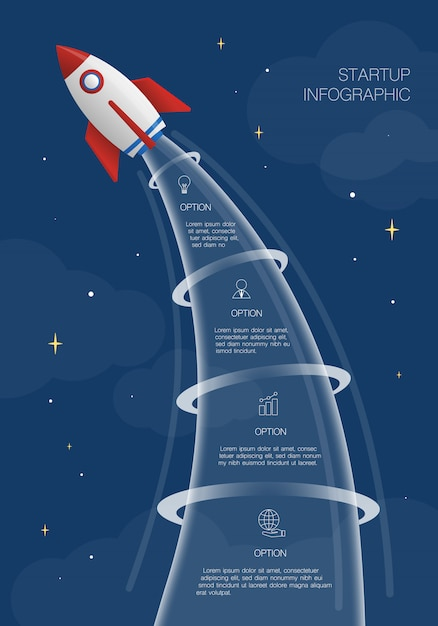 Raketen-infografik, illustration mit 4 optionen oder schritten Premium Vektoren