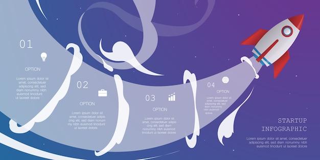Raketen-infografik mit 4 optionen Premium Vektoren