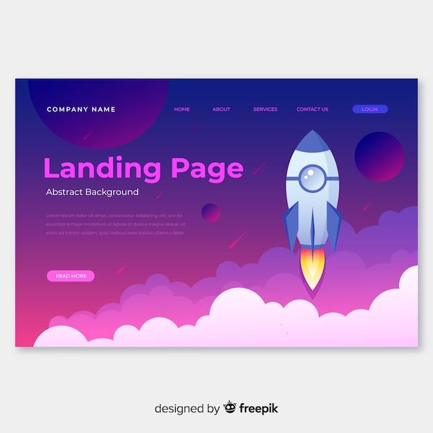 Raketen-landingpage Kostenlosen Vektoren