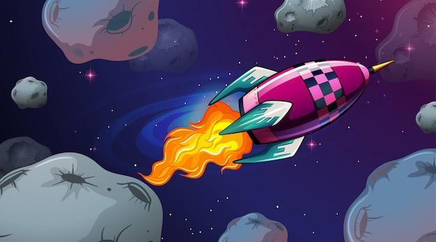 Raketen- und asteroiden-szene Kostenlosen Vektoren