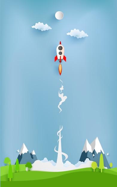 Raketenabbildung, die über wolke fliegt Premium Vektoren