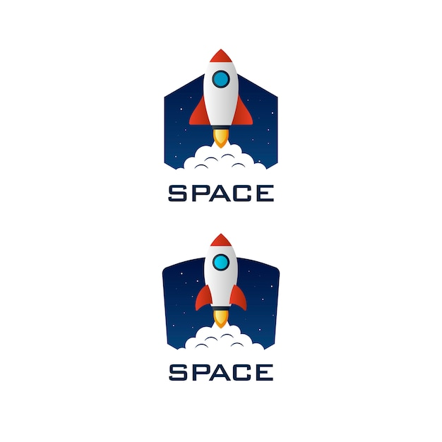 Raketenraum logo vorlage Premium Vektoren