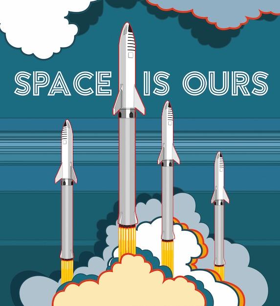Raketenraumschiff, das vektorretrostil startet Premium Vektoren