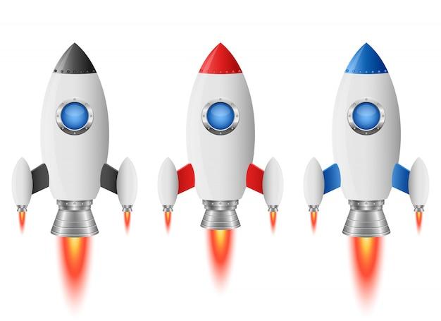 Raketenraumschiffillustration auf weißem hintergrund Premium Vektoren