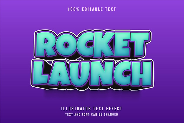 Raketenstart, 3d bearbeitbarer texteffekt blaue abstufung lila comic-textstil Premium Vektoren