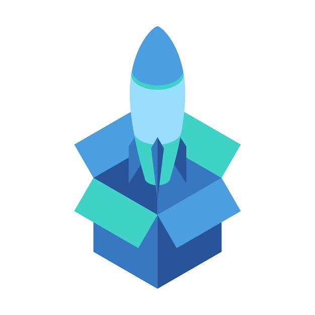 Raketenstart aus einer geöffneten box Premium Vektoren