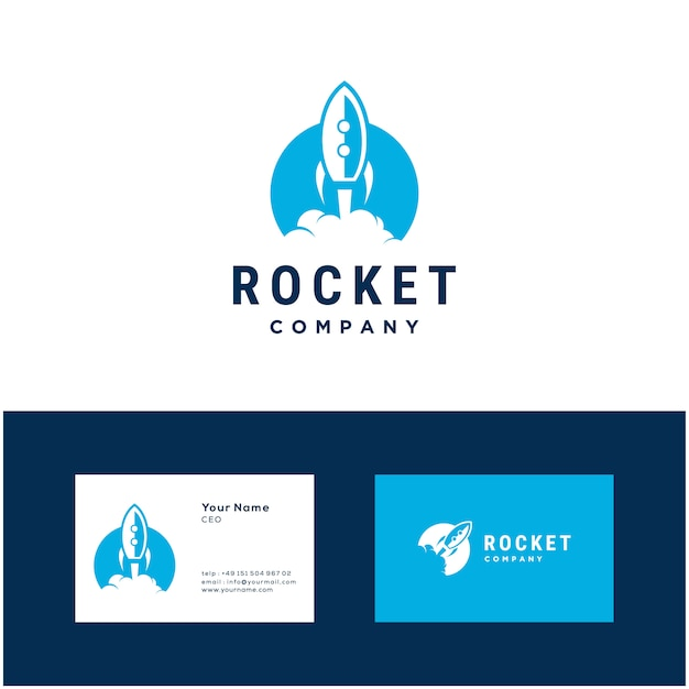 Raketenstart illustration logo design-vorlage Premium Vektoren