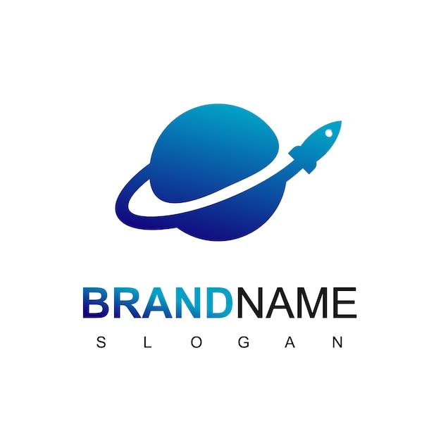 Raketenstart im planeten-logo Premium Vektoren