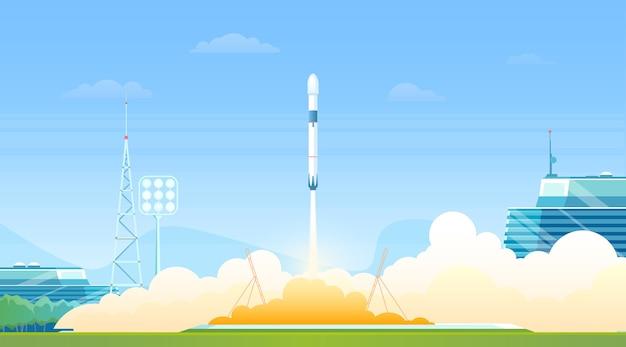Raketenstart von der raumschiffstation Premium Vektoren