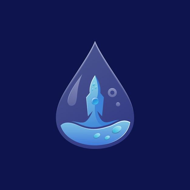 Raketenwasser-logo Premium Vektoren