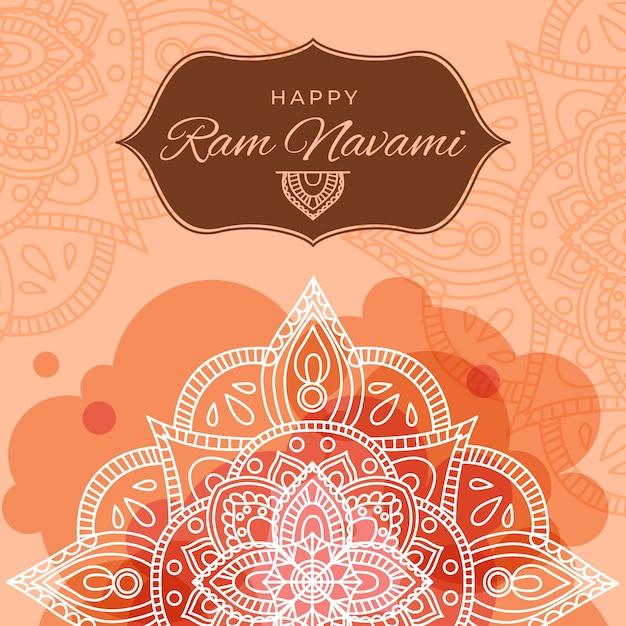 Ram navami banner mit mandala Kostenlosen Vektoren