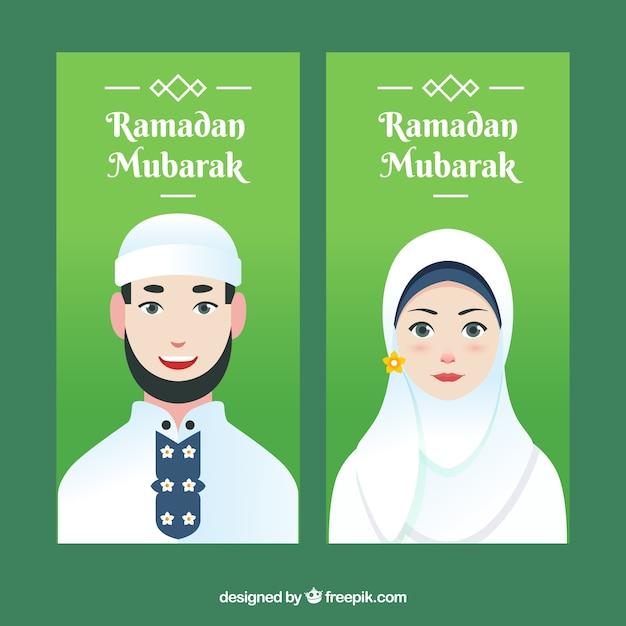 Ramadan banner mit mann und frau Kostenlosen Vektoren