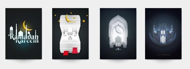 Ramadan-cover-set Premium Vektoren