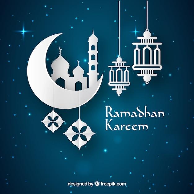 Ramadan-hintergrund Mit Lampen Und Verzierungen