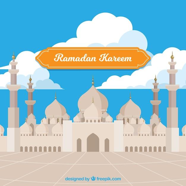 Ramadan-hintergrund mit moschee in der flachen art Kostenlosen Vektoren