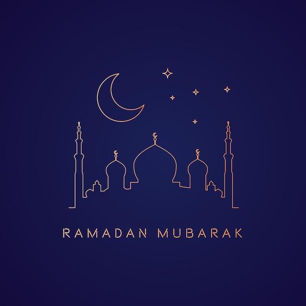 Ramadan-hintergrund mit moschee in goldmonolines Premium Vektoren