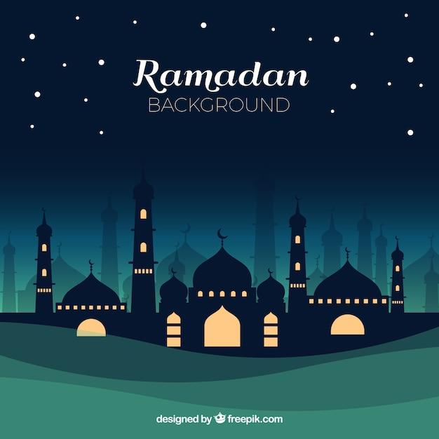 Ramadan-hintergrund mit moschee nachts in der flachen art Kostenlosen Vektoren