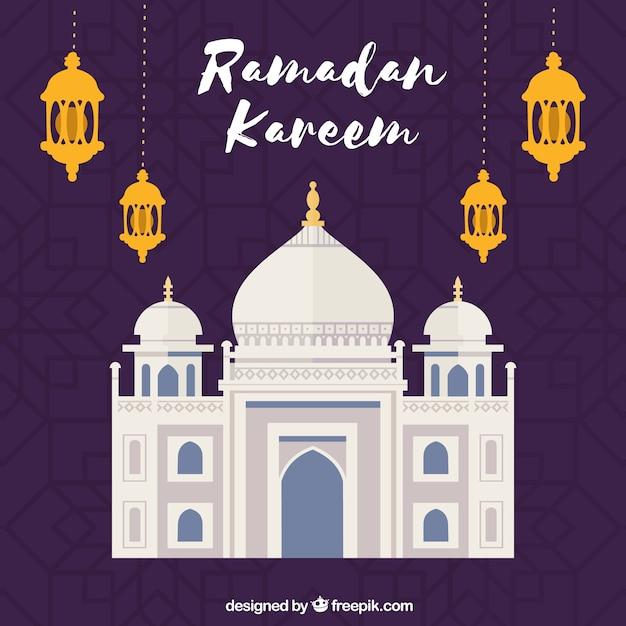 Ramadan-hintergrund mit moschee und lampen in der flachen art Kostenlosen Vektoren
