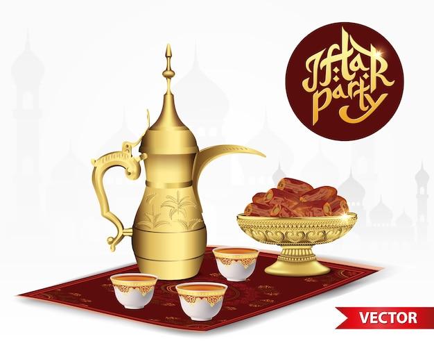 Ramadan iftar party essen mit klassischer arabischer teekanne und tasse, schüssel datteln isoliert Premium Vektoren