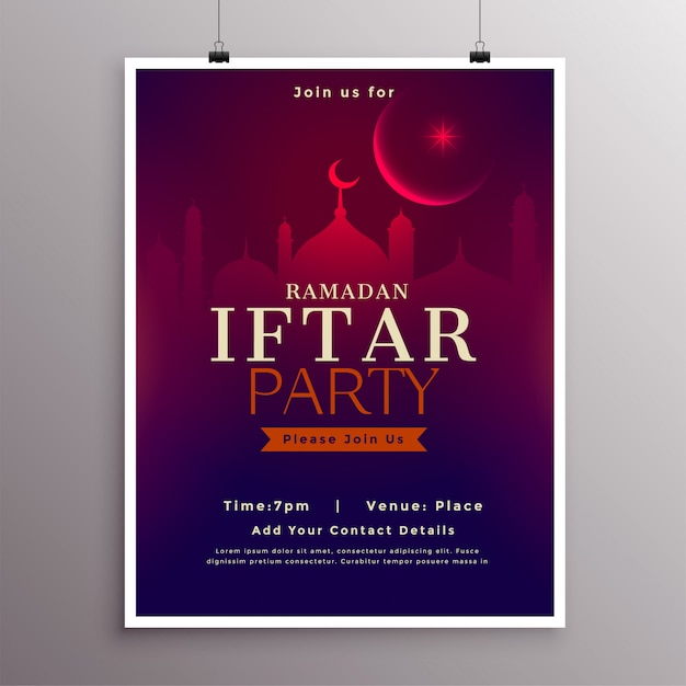 Ramadan-iftar party-feierschablonendesign Kostenlosen Vektoren