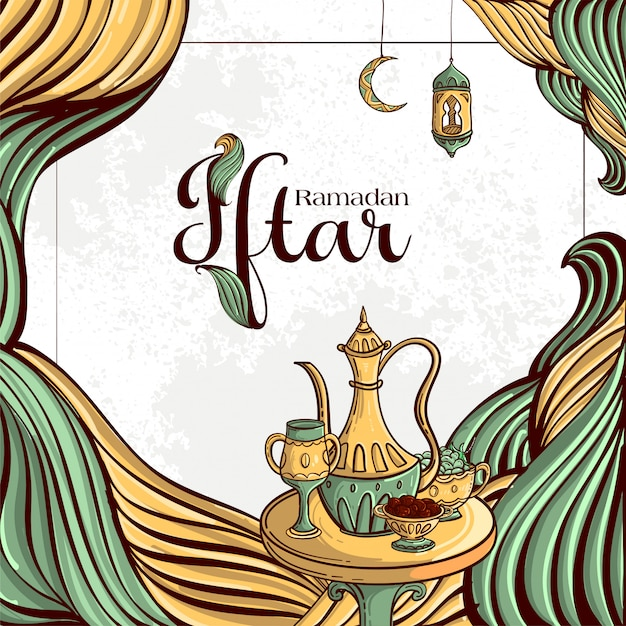 Ramadan iftar party grußkarte mit handgezeichneten daten und islamischem essen auf weißem grunge hintergrund. Kostenlosen Vektoren