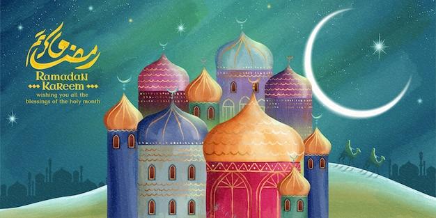 Ramadan kareem bedeutet großzügigen urlaub mit farbenfroher moschee in der nachtwüste Premium Vektoren
