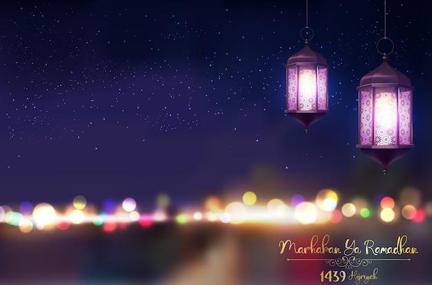 Ramadan kareem, der auf unscharfem hintergrund grüßt Premium Vektoren