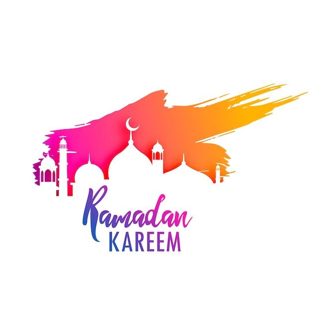 Ramadan kareem design mit buntem farbensplitter Kostenlosen Vektoren