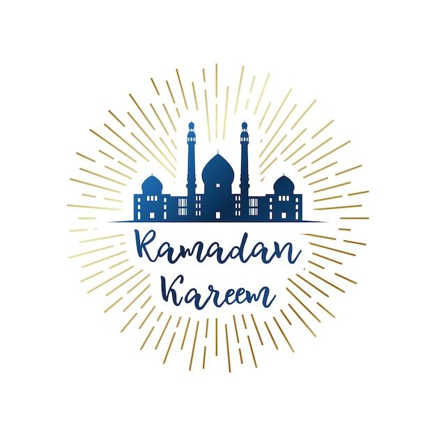 Ramadan kareem-emblem mit moschee. Premium Vektoren