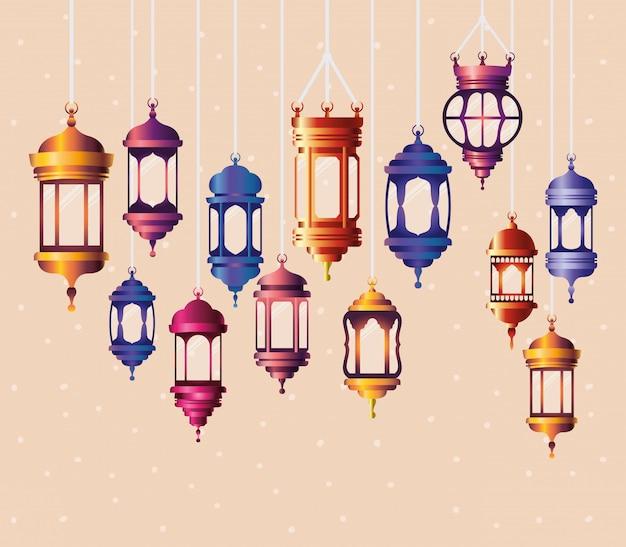 Ramadan kareem färbt das laternenhängen Premium Vektoren