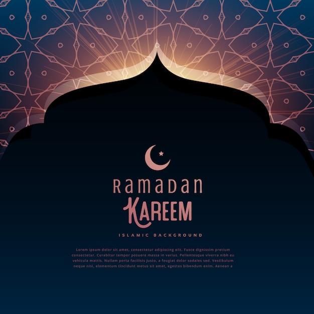 Ramadan kareem festival gruß mit moschertür und islamischem muster Kostenlose Vektoren