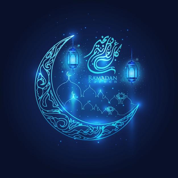 Ramadan kareem glühende arabische laternen, mond und sterne islamischer halbmond Premium Vektoren