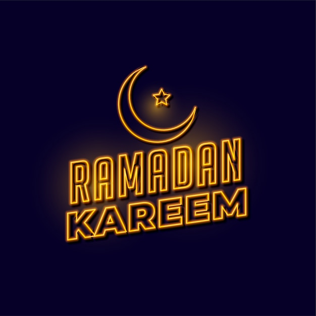 Ramadan kareem goldener neonbeschriftungshintergrund Kostenlosen Vektoren