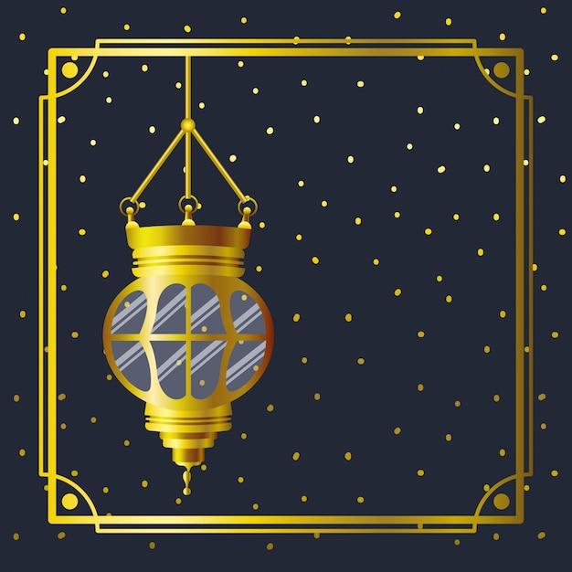 Ramadan kareem goldener rahmen mit dem lampenhängen Premium Vektoren